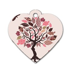 Tree Butterfly Insect Leaf Pink Dog Tag Heart (One Side)