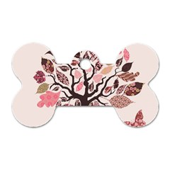 Tree Butterfly Insect Leaf Pink Dog Tag Bone (Two Sides)