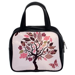 Tree Butterfly Insect Leaf Pink Classic Handbags (2 Sides)