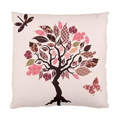 Tree Butterfly Insect Leaf Pink Standard Cushion Case (Two Sides)