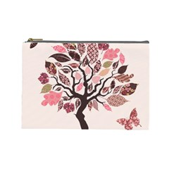 Tree Butterfly Insect Leaf Pink Cosmetic Bag (Large)