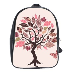 Tree Butterfly Insect Leaf Pink School Bags(Large)