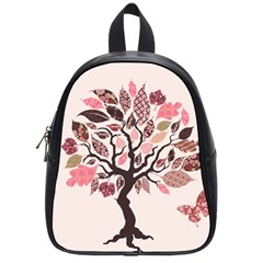 Tree Butterfly Insect Leaf Pink School Bags (small)
