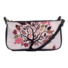 Tree Butterfly Insect Leaf Pink Shoulder Clutch Bags