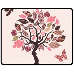 Tree Butterfly Insect Leaf Pink Fleece Blanket (Medium)