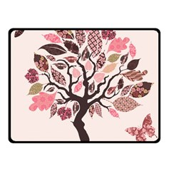 Tree Butterfly Insect Leaf Pink Fleece Blanket (Small)