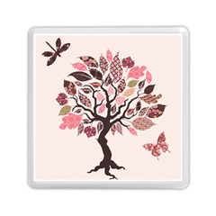 Tree Butterfly Insect Leaf Pink Memory Card Reader (Square)