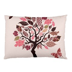 Tree Butterfly Insect Leaf Pink Pillow Case (Two Sides)