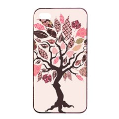Tree Butterfly Insect Leaf Pink Apple iPhone 4/4s Seamless Case (Black)