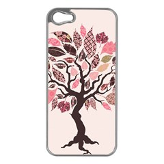 Tree Butterfly Insect Leaf Pink Apple iPhone 5 Case (Silver)
