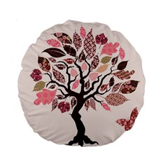 Tree Butterfly Insect Leaf Pink Standard 15  Premium Round Cushions