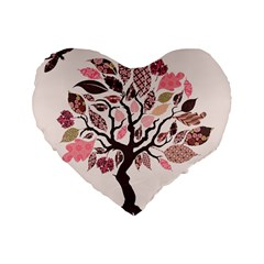 Tree Butterfly Insect Leaf Pink Standard 16  Premium Heart Shape Cushions