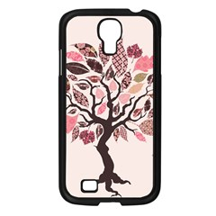 Tree Butterfly Insect Leaf Pink Samsung Galaxy S4 I9500/ I9505 Case (Black)