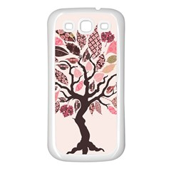 Tree Butterfly Insect Leaf Pink Samsung Galaxy S3 Back Case (White)