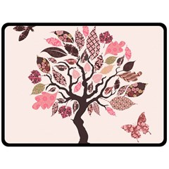Tree Butterfly Insect Leaf Pink Double Sided Fleece Blanket (Large)