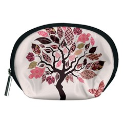 Tree Butterfly Insect Leaf Pink Accessory Pouches (Medium)