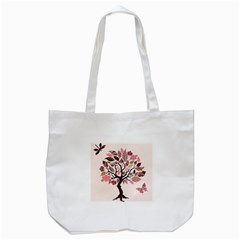 Tree Butterfly Insect Leaf Pink Tote Bag (White)