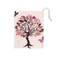 Tree Butterfly Insect Leaf Pink Drawstring Pouches (Medium)