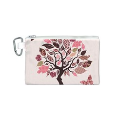 Tree Butterfly Insect Leaf Pink Canvas Cosmetic Bag (S)