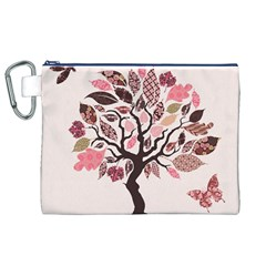 Tree Butterfly Insect Leaf Pink Canvas Cosmetic Bag (XL)