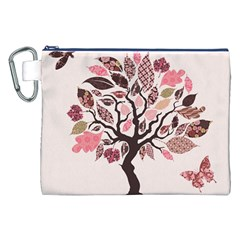 Tree Butterfly Insect Leaf Pink Canvas Cosmetic Bag (XXL)