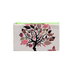 Tree Butterfly Insect Leaf Pink Cosmetic Bag (XS)