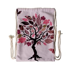 Tree Butterfly Insect Leaf Pink Drawstring Bag (Small)