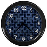 WOVEN1 BLACK MARBLE & BLUE STONE (R) Wall Clock (Black) Front
