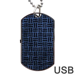 WOV1 BK-MRBL BL-STONE (R) Dog Tag USB Flash (Two Sides)
