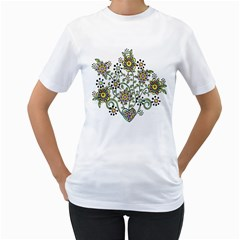 Frame Flower Floral Sun Purple Yellow Green Women s T-Shirt (White) (Two Sided)