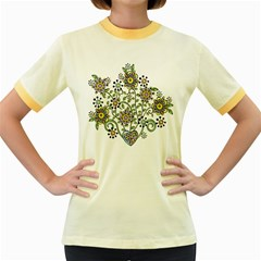 Frame Flower Floral Sun Purple Yellow Green Women s Fitted Ringer T-Shirts