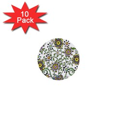 Frame Flower Floral Sun Purple Yellow Green 1  Mini Buttons (10 Pack)