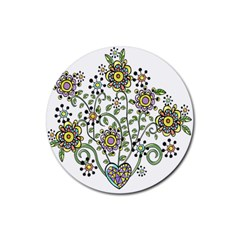 Frame Flower Floral Sun Purple Yellow Green Rubber Coaster (Round)