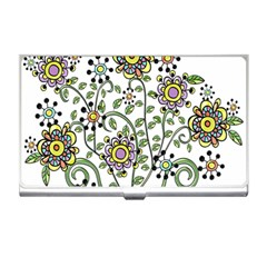 Frame Flower Floral Sun Purple Yellow Green Business Card Holders