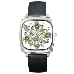 Frame Flower Floral Sun Purple Yellow Green Square Metal Watch