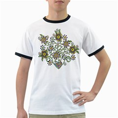 Frame Flower Floral Sun Purple Yellow Green Ringer T-Shirts