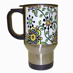 Frame Flower Floral Sun Purple Yellow Green Travel Mugs (White)