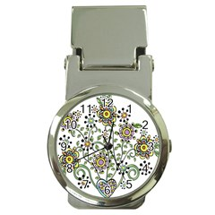 Frame Flower Floral Sun Purple Yellow Green Money Clip Watches