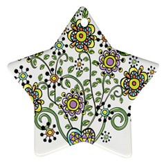 Frame Flower Floral Sun Purple Yellow Green Star Ornament (two Sides)