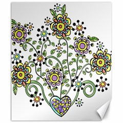 Frame Flower Floral Sun Purple Yellow Green Canvas 20  x 24