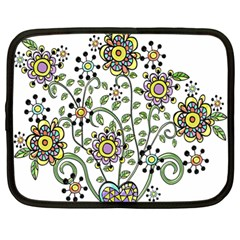 Frame Flower Floral Sun Purple Yellow Green Netbook Case (large)
