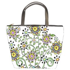 Frame Flower Floral Sun Purple Yellow Green Bucket Bags