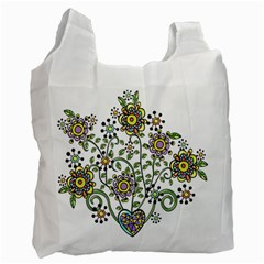 Frame Flower Floral Sun Purple Yellow Green Recycle Bag (One Side)