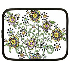 Frame Flower Floral Sun Purple Yellow Green Netbook Case (XXL)