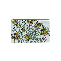 Frame Flower Floral Sun Purple Yellow Green Cosmetic Bag (Small)