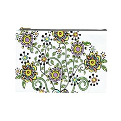 Frame Flower Floral Sun Purple Yellow Green Cosmetic Bag (Large)