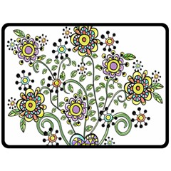 Frame Flower Floral Sun Purple Yellow Green Fleece Blanket (large)