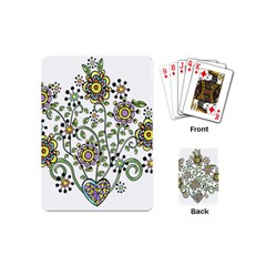 Frame Flower Floral Sun Purple Yellow Green Playing Cards (Mini)