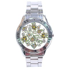 Frame Flower Floral Sun Purple Yellow Green Stainless Steel Analogue Watch
