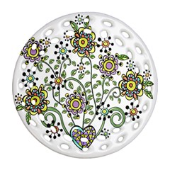 Frame Flower Floral Sun Purple Yellow Green Round Filigree Ornament (Two Sides)